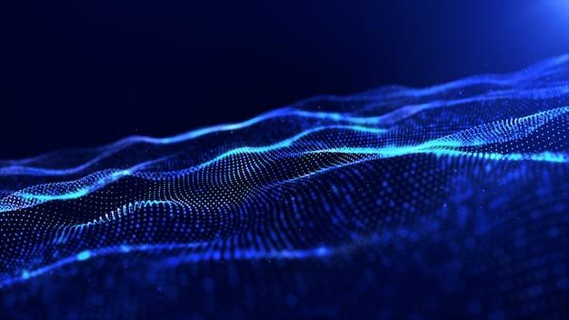 Abstracte blauwe de golfachtergrond van kleuren digitale deeltjes