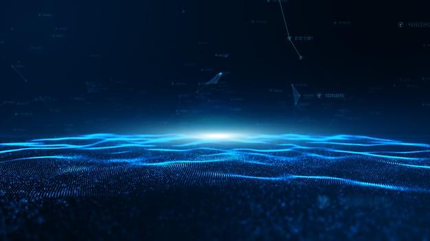 Abstracte blauwe digitale deeltjesgolf en digitale datanetwerkverbindingen voor een technologie