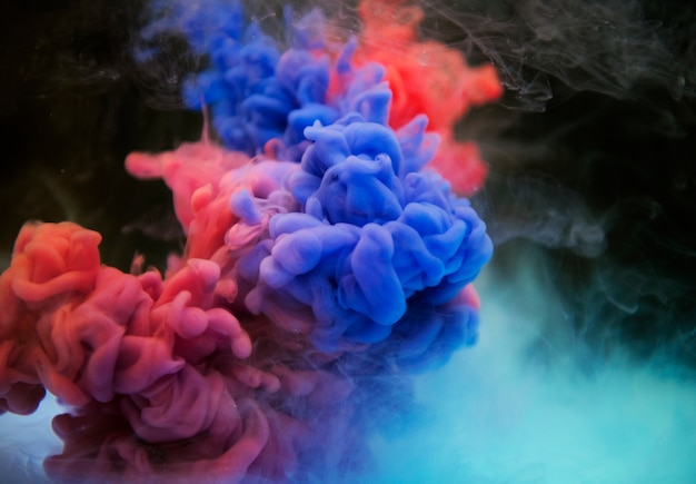 Abstracte blauwe en oranje wolk