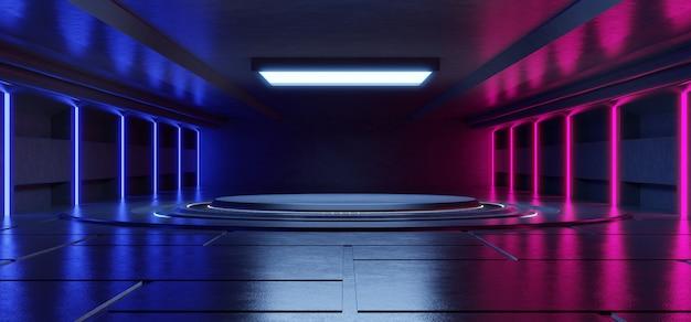 Abstracte blauwe en roze neonlichtvormen op zwarte achtergrond voor het plaatsen van producten met concrete achtergrond.