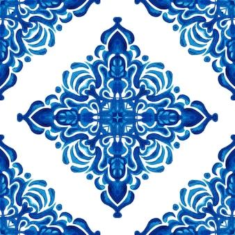 Abstracte blauwe en witte hand getekende tegel naadloze sier aquarel verf patroon. elegante luxe textuur voor stof en wallpapers, achtergronden en paginavulling.