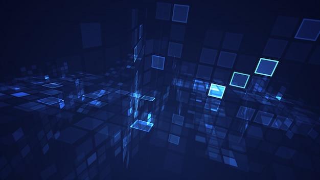 Abstracte blauwe grafische opvlammende het perspectiefachtergrond van het rechthoeknet