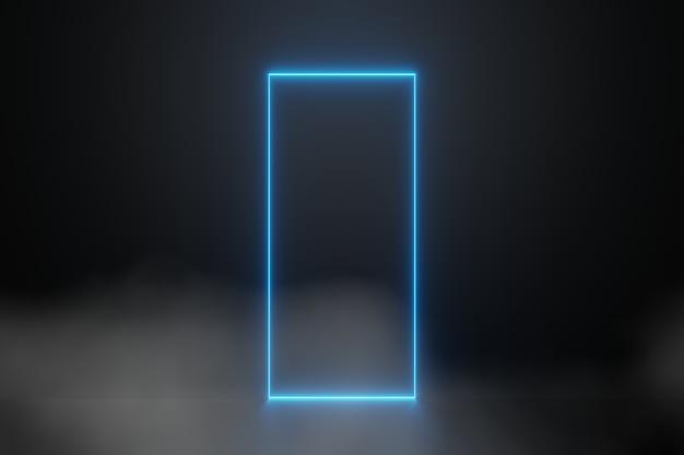 Abstracte blauwe laser neon licht gloeiende lijnen rechthoekig frame rook mist achtergrond 3d-rendering