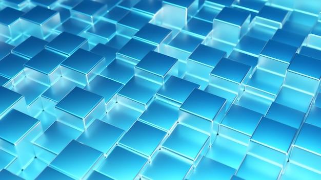 Abstracte blauwe metalen achtergrond van kubussen. muur van een metalen kubus.