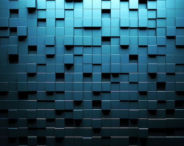 Abstracte blauwe muur als achtergrond met parametrisch kubiek patroon.
