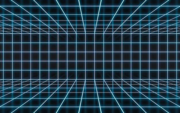 Abstracte blauwe neon gloeiende achtergrond. neonlicht op refelction surface 3d-rendering