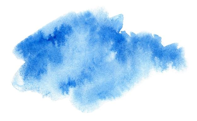 Abstracte blauwe waterverf die op witte achtergrond wordt geïsoleerd