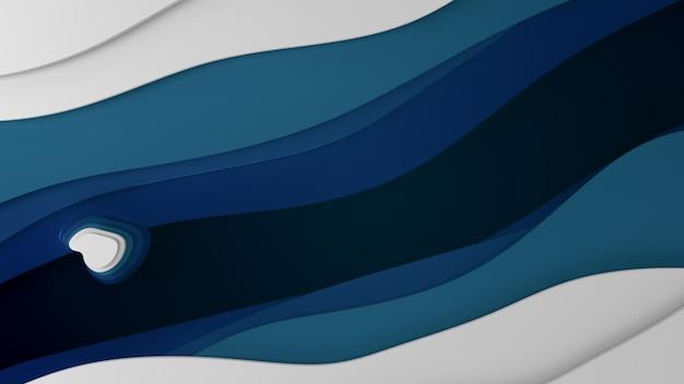 Abstracte blauwe zee met papier gesneden diepe stijl