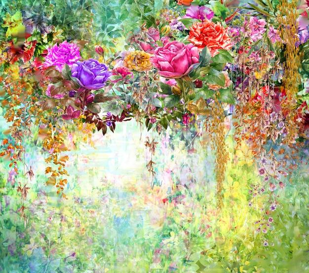 Abstracte bloemen aquarel schilderij. lente veelkleurige bloemen