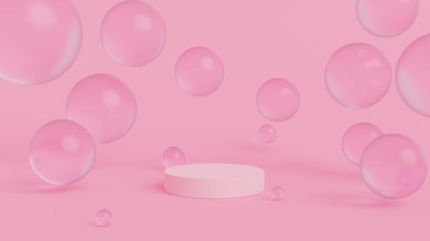 Abstracte bollen met geometrisch podium