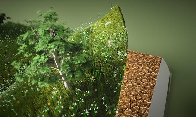 Abstracte bomen en grond in boekclose-up