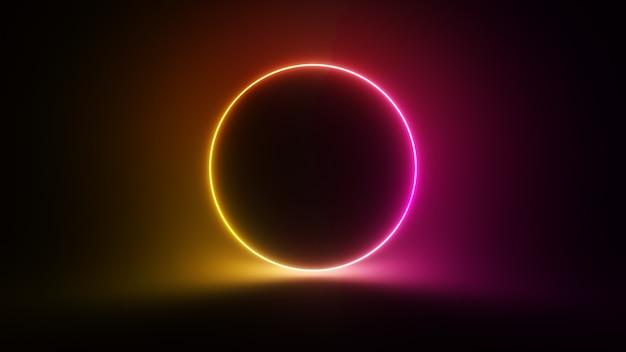 Abstracte circulaire neon achtergrond. fluorescerende gloeiende neon gloeiende knipperende lichtverloop. 3d-afbeelding