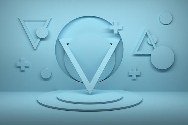 Abstracte compositie met driehoeken, kruisen en cirkels op voetstuk in blauwe kleur