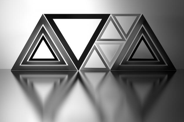 Abstracte compositie met driehoeken over spiegelvloer