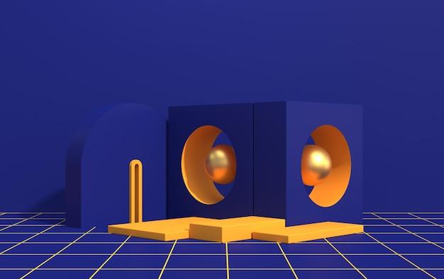 Abstracte compositie van geometrische vormen in art decostijl en podium voor product showcase, blauwe kleur, 3d render