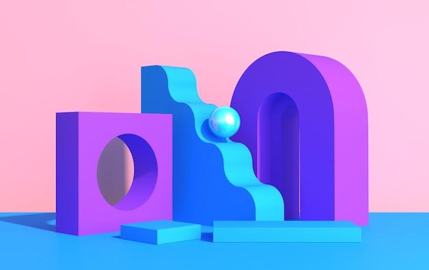 Abstracte compositie van geometrische vormen in art decostijl en podium voor product showcase, veelkleurige vormen op een roze achtergrond, 3d render