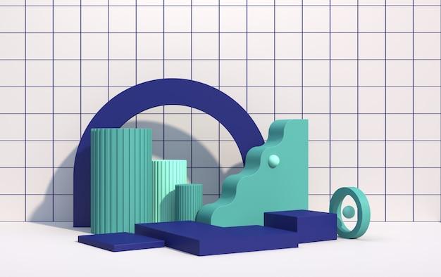 Abstracte compositie van geometrische vormen in art decostijl en podium voor product showcase, veelkleurige vormen op een witte achtergrond, 3d render