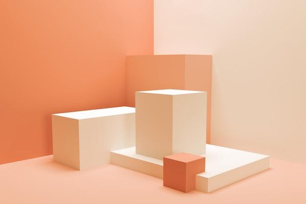 Abstracte compositie van geometrische vormen. lege sokkels voor presentatie. minimalistische 3d render in koraaltinten.