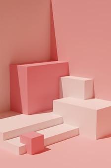 Abstracte compositie van geometrische vormen. lege sokkels voor presentatie. minimalistische orthogonale 3d render in roze tinten.