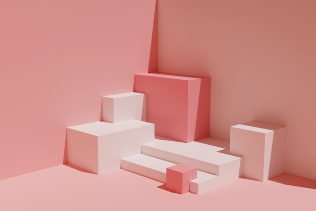 Abstracte compositie van geometrische vormen. lege sokkels voor presentatie.