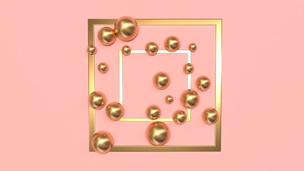 Abstracte compositie van gouden vierkanten en bollen op een roze achtergrond 3d