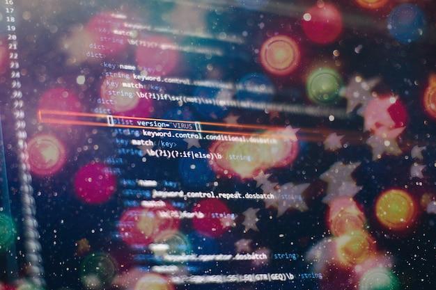 Abstracte computerscriptcode. programmeercodescherm van softwareontwikkelaar. software programmering werktijd.