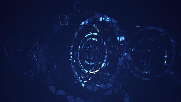 Abstracte cyber grafische achtergrond van de cirkel de digitale technologie