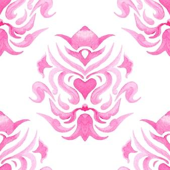 Abstracte damast naadloze sier aquarel verf bloemenpatroon. elegante luxetextuur voor wallpapers, achtergronden en paginavulling
