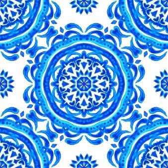 Abstracte damast zon bloem naadloze sier aquarel verf patroon. elegante luxe textuur voor wallpapers, achtergronden en paginavulling. blauwe en witte azulejo tegel