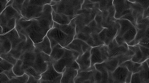 Abstracte deeltjes lijn zwevende vorm op zwarte achtergrond, illustratie deeltjes verplaatsen op zwart voor buigen met hoofdproject