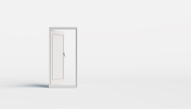 Abstracte deur zonder ruimte, minimaal deur- en ontdekkingsconcept, 3d illustratieweergave