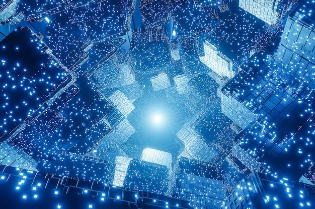 Abstracte digitale futuristische sci-fi-achtergrond, big data, computerhardware, netwerk, blauw neonlicht, 3d-model en illustratie.