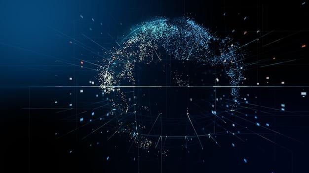 Abstracte digitale wereld. 3d-weergave van een datanetwerk van wetenschappelijke technologie.