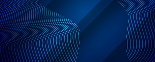 Abstracte donkerblauwe achtergrond met dynamisch de strepeneffect van de golflijn