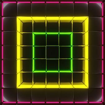 Abstracte donkere achtergrondafbeelding, vierkante vorm in lagen met neonlicht, rood, geel, groen, 3d-rendering.