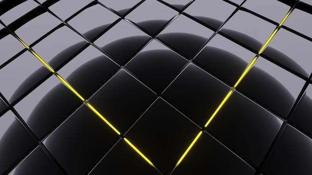 Abstracte donkere achtergrondafbeelding, vierkante vorm ingevoegd met geel neonlicht, 3d-rendering.