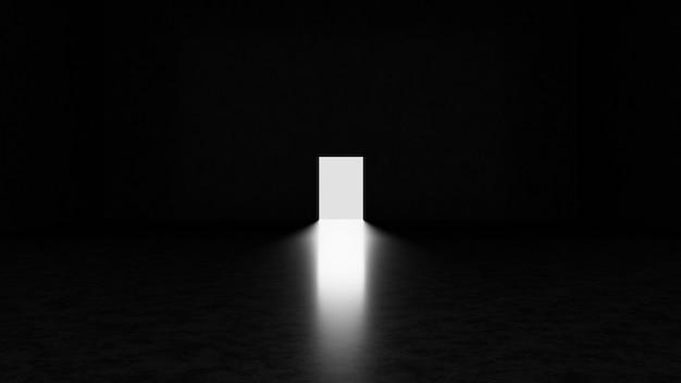 Abstracte donkere betonnen kamer met open deur en licht dat er doorheen gaat.3d render illustratie.