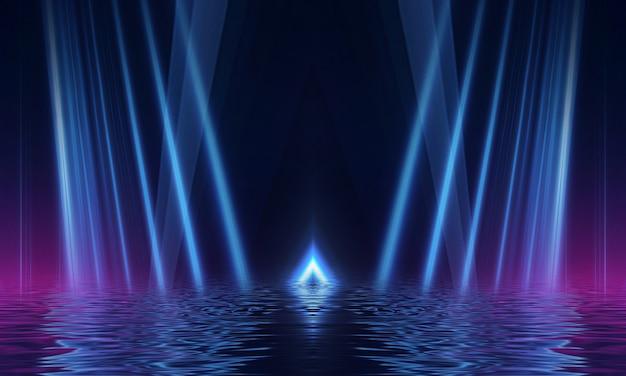 Abstracte donkere futuristische achtergrond blauwe neonlicht die stralen worden weerkaatst door het water