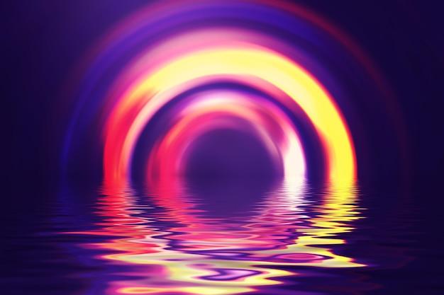 Abstracte donkere futuristische achtergrond. neonstralen van licht weerkaatst door het water. achtergrond van lege show, strandfeest.