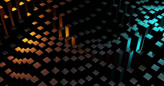 Abstracte donkere geometrische kubusachtergrond met oranje en blauwe lichten. 3d-rendering illustratie.