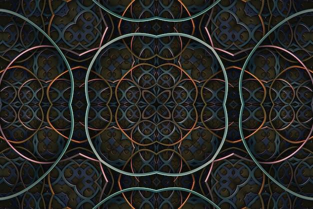 Abstracte donkere vintage retro sierlijke ornament achtergrond, gebogen geometrische symmetrische patroonelementen, caleidoscoop effect