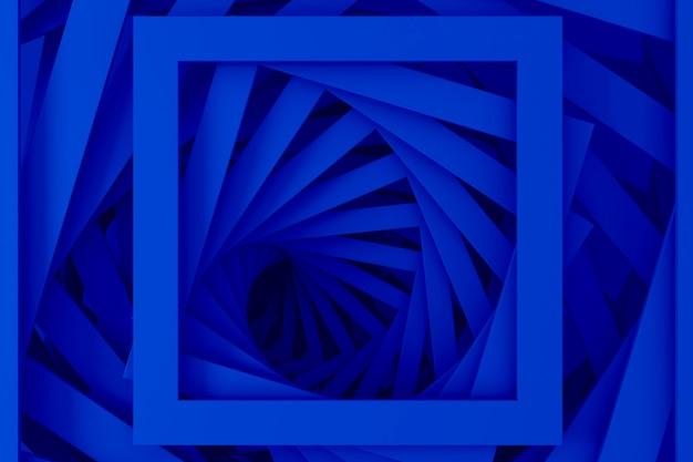 Abstracte driedimensionale minimale pastelblauwe textuur van een reeks rechte vierkante randen van spiraalvormige stappen. 3d illustratie.