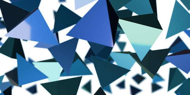 Abstracte driehoek glanzende geometrische 3d illustratie als achtergrond