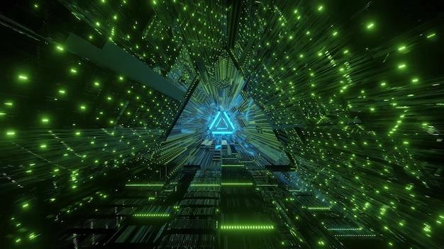 Abstracte driehoekige tunnel verlicht met felgroene neonlichtenachtergrond