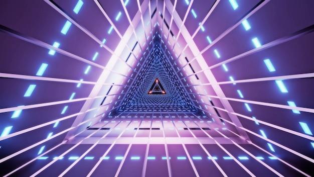 Abstracte driehoekstunnel met lijnen verlicht met heldere violette neonlampen