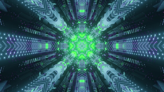 Abstracte dynamische achtergrond 3d illustratie binnenkant van futuristische virtuele wereldtunnel met cirkelvormig gat verlicht met heldergroene neonlampen