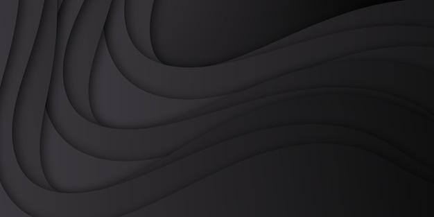 Abstracte eenvoudige zwarte golfkromme achtergrond met waterstroom papier gesneden stijl concept