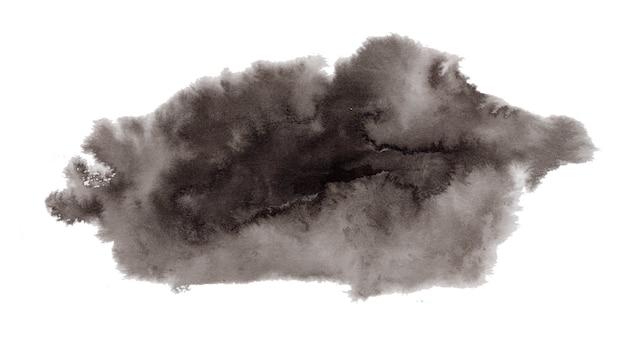 Abstracte expressieve getextureerde zwarte inkt- of aquarelvlek