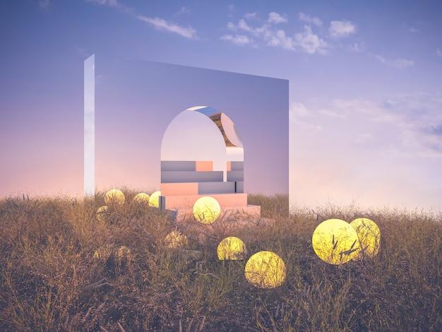 Abstracte fantasiescène met trap en maan.