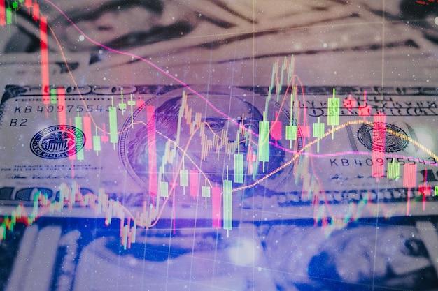 Abstracte financiële handelsgrafieken en digitaal nummer op monitor. achtergrond van gouden en blauwe digitale grafiek om de trend van de aandelenmarkt te vertegenwoordigen.